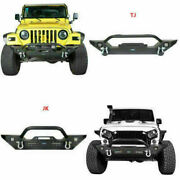 Mid Front Bumpers W/winch Plate And D-rings Fit Jeep Wrangler Tj 97-06 Or Jk 07-18
