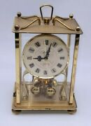 Vtg Kern 400 Day Torsion Anniversary Clock Carriage Mantle Brass As Is Germany