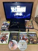 Microsoft Xbox 360 Slim Console Bundle With Games Controller Cords Tested 250gb