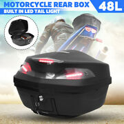 Abs Universal Motorcycle Scooter Trunk Rear Case Top Box Pack W/ Led Tail