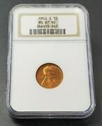 1944 S Lincoln Ww2 World War Wheat Cent Penny Coin Ngc Ms67 Rd Red