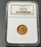 1944 S Lincoln Ww2 World War Wheat Cent Penny Coin Ngc Ms67 Rd Red Shell Casing