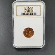 1954 S Lincoln Penny Coin Ngc Ms67 Red Last Year Of San Francisco Wheat Cent