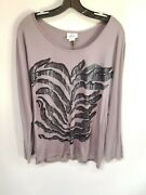 Ariat Womens Brown Black Sequin Scoop Neck Long Sleeve Top Blouse Size Large