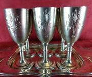 Russian Vintage Solid Sterling Silver 875 Engraved Cups Or 6 Goblets Set Or Foot