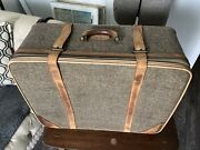 Vintage Fulton Solight Leather And Tweed 26 Suitcase Luggage Hartmann Color