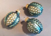 Lot Of 3 Vintage 1960s Christmas Tree Decorations/ Baubles. Blue And Gold Grapes
