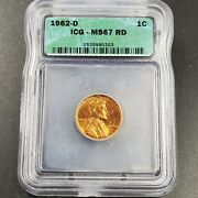 1962 D Lincoln Memorial Cent Penny Coin Vintage Retro Icg Ms67 Rd Red Gem Bu