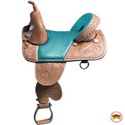 C-q-16 16 In Western Horse Saddle Treeless Trail Barrel Racing American Leather