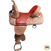 C-d-16 16 In Western Horse Saddle Treeless Trail Barrel Racing American Leather