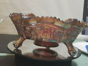 Fenton Iridescent Amethyst 9.5 Carnival Glass Bowl Butterfly And Berries 3 Feet
