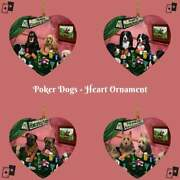 Home Of 4 Dogs Cats Playing Poker Pets Photo Heart Christmas Tree Ornament Décor