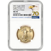 2021 American Gold Eagle Type 2 1/2 Oz 25 Ngc Ms70 First Day Issue 70 Label