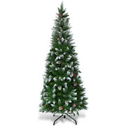 Snow Flocked Unlit Artificial Pencil Christmas Tree 5and039 Hinged W/ Pine Cones