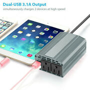 Power Inverter Dc 12v To 110v Ac 400w Outlets With Dual Usb Car Charger Adapter