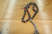 Black Coral Yusr 33 Prayer Beads Muslim Islamic Rosary Red Coral Sterling Silver