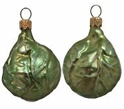 Brussels Sprout Cabbage Polish Glass Christmas Ornament Set Of 2 Decorations