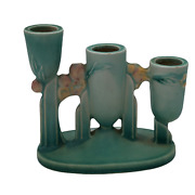 Roseville Pottery Ixia Triple Candle Holder 1128 Turquoise Made In 1937