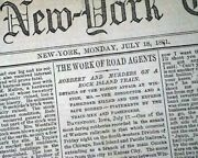 Outlaw Jesse James Younger Gang Rock Island Train Robbery 1881 Old Nyc Newspaper