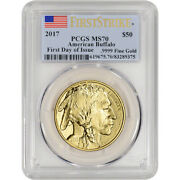 2017 American Gold Buffalo 1 Oz 50 - Pcgs Ms70 - First Strike First Day Issue