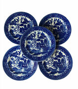 Set/5 Vtg Japan Blue Willow 6andrdquo Bread Plates - The Munsters Dishes Halloween Euc