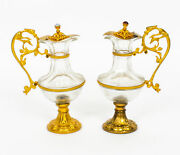Antique Pair Of French Ormolu And Glass Ewers 19th Century