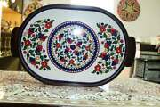 Blue Armenian Ceramic Made In Israel Handmade Enamel With Hand Blue Kitchen Home