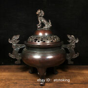 8.4 Chinese Antiques Pure Copper Three Dragon Ears Lion Cover Incense Burner