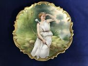 Antique Limoges France Blakeman And Henderson Painted Charger, Lady W/bow And Arrow