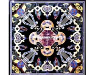 42 X 42 Black Marble Dining / Center Table Top Home Decor Inlay Marquetry Art