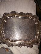 F.b. Rogers Silver Co. Silverplate Butler Tray Trademark 1883 Formal Antique