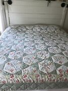 Queen Quilt Green Patchwork Cotton Star Cottage French Country Farmhouse