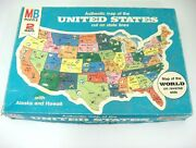 United States Map Puzzle 20 X 14 Milton Bradley World On Reverse 1975 Complete
