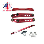 Rear Lower Control Arm Subframe Brace Tie Bar Red For 94-01 Integra 92-95 Civic