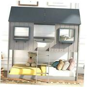 House Shaped Solid Wood Bunk Bed With Roof, Window, Twin Over Twin Light Gray