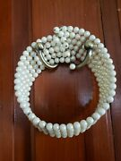 Vintage Wrap Around Faux Pearl Choker Necklace Costume Jewelry 5 Strands