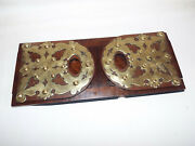 Antique Gothic Brass Mounted Walnut Bookslide Bookends