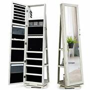 360° Rotating Jewelry Armoire With Higher Full Length Mirror, Standing White