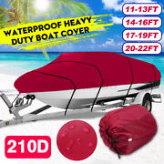 Waterproof Heavy Duty Trailerable Boat Cover Fits V-hull Boats 11-22ft Burgundy