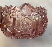 Vintage Imperial Glass 7.1/2 Pink Ice Carnival Glass Sawtooth Heavy Fruit Bowl