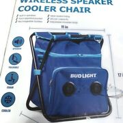Bud Light Blue Chair Cooler With Built In Bluetooth Speaker Tailgate Beach Pool