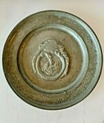 Rare Antique 18th Cen Pewter Dragon Charger Dated 1753