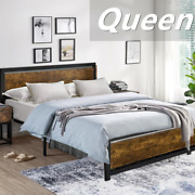 Queen Size Metal Bed Platform Frame W/wooden Headboard Vintage Country Style Us