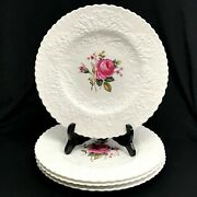 Lot Of 4 Spode Copeland China, Bridal Rose Dinner Plates White And Floral, 10.5