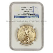 2014 50 Eagle Ngc Ms70 Early Releases 1 Oz American Gold Bullion Er Coin 22kt