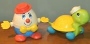 Vintage Fisher Price Pull Along Humpty Dumpty And Tag Along Turtle