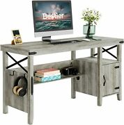 Computer Desk With Sheves Cabinet Home Office Farmhouse Table Workstation Study