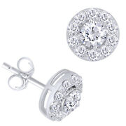1 Ctt Round Natural Diamond Halo Stud Earrings 14k White Gold Christmas Special
