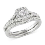 1.00 Cttw Round Cut Diamond Halo Bridal Set In 14k White Gold Christmas Special
