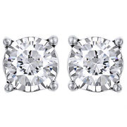3/4cttw Round Cut Diamond Stud Earrings In 14k White Gold Christmas Special